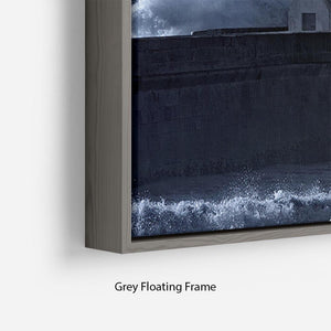 Stormy waves over old lighthouse Floating Frame Canvas