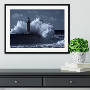 Stormy waves over old lighthouse Framed Print - Canvas Art Rocks - 1
