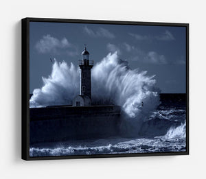 Stormy waves over old lighthouse HD Metal Print