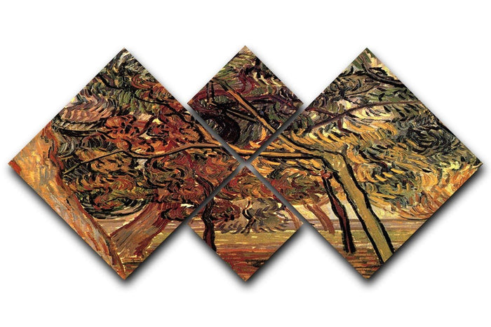 Study of Pine Trees by Van Gogh 4 Square Multi Panel Canvas