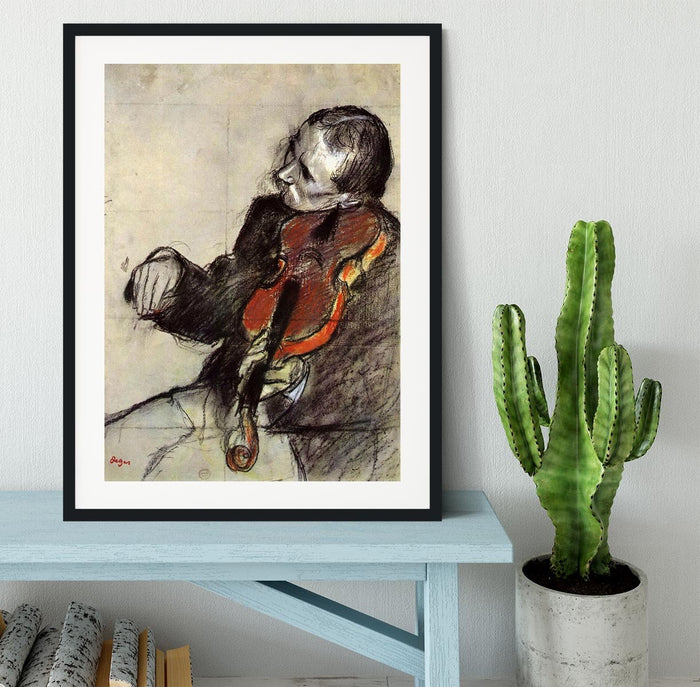 Study of violinist by Degas Framed Print