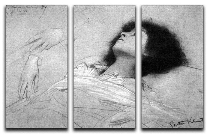 Study sheet with the upper body of a girl and sketches by Klimt 3 Split Panel Canvas Print