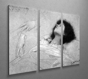Study sheet with the upper body of a girl and sketches by Klimt 3 Split Panel Canvas Print - Canvas Art Rocks - 2