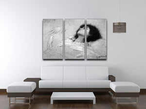 Study sheet with the upper body of a girl and sketches by Klimt 3 Split Panel Canvas Print - Canvas Art Rocks - 3