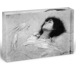 Study sheet with the upper body of a girl and sketches by Klimt Acrylic Block - Canvas Art Rocks - 1