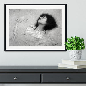 Study sheet with the upper body of a girl and sketches by Klimt Framed Print - Canvas Art Rocks - 1