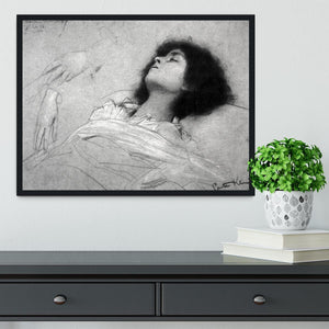 Study sheet with the upper body of a girl and sketches by Klimt Framed Print - Canvas Art Rocks - 2