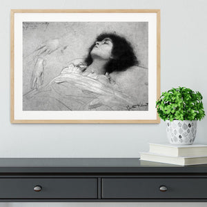 Study sheet with the upper body of a girl and sketches by Klimt Framed Print - Canvas Art Rocks - 3