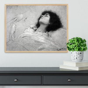 Study sheet with the upper body of a girl and sketches by Klimt Framed Print - Canvas Art Rocks - 4