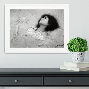 Study sheet with the upper body of a girl and sketches by Klimt Framed Print - Canvas Art Rocks - 5