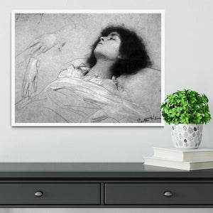 Study sheet with the upper body of a girl and sketches by Klimt Framed Print - Canvas Art Rocks -6