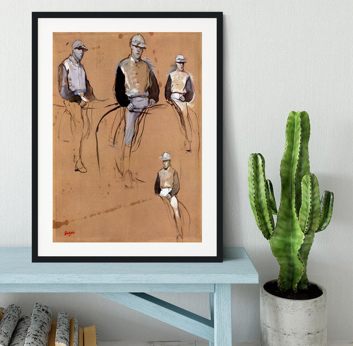 Study with four jockeys by Degas Framed Print