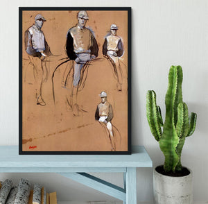 Study with four jockeys by Degas Framed Print - Canvas Art Rocks - 2