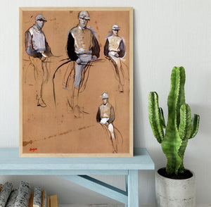 Study with four jockeys by Degas Framed Print - Canvas Art Rocks - 4