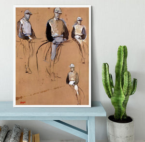 Study with four jockeys by Degas Framed Print - Canvas Art Rocks -6