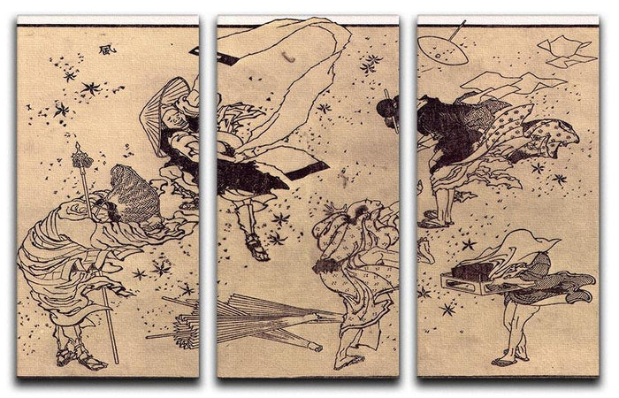 Sudden Wind by Hokusai 3 Split Panel Canvas Print
