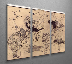 Sudden Wind by Hokusai 3 Split Panel Canvas Print - Canvas Art Rocks - 2