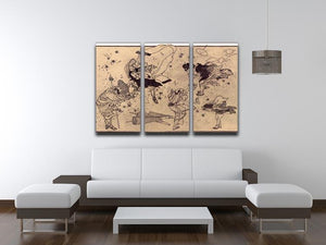 Sudden Wind by Hokusai 3 Split Panel Canvas Print - Canvas Art Rocks - 3