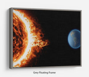 Sun earth space universe solar storm Floating Frame Canvas