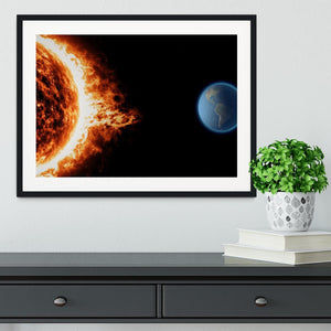 Sun earth space universe solar storm Framed Print - Canvas Art Rocks - 1