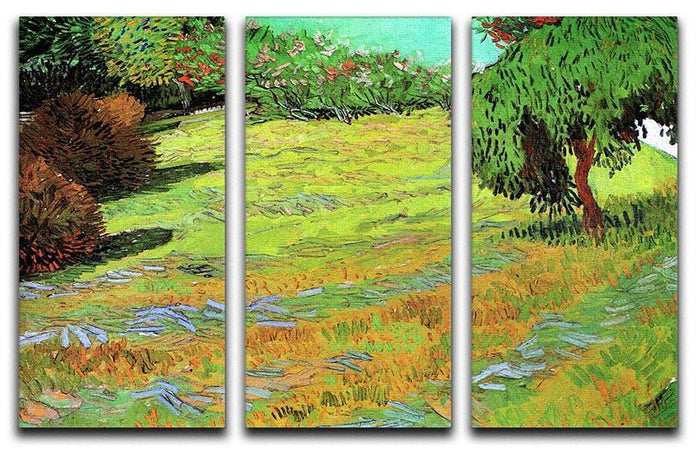 Sunny Lawn in a Public Park by Van Gogh 3 Split Panel Canvas Print
