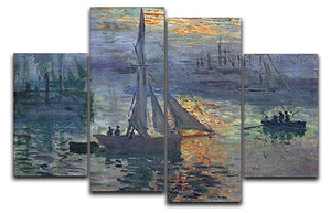 Sunrise at Sea by Monet 4 Split Panel Canvas  - Canvas Art Rocks - 1