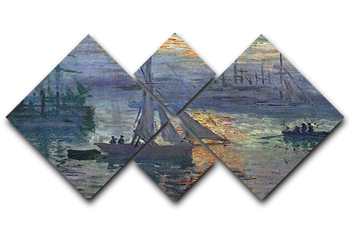 Sunrise at Sea by Monet 4 Square Multi Panel Canvas