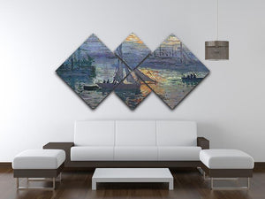 Sunrise at Sea by Monet 4 Square Multi Panel Canvas - Canvas Art Rocks - 3