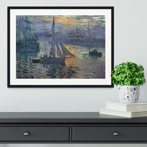 Sunrise at Sea by Monet Framed Print - Canvas Art Rocks - 1