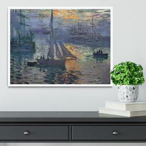 Sunrise at Sea by Monet Framed Print - Canvas Art Rocks -6