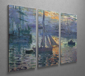 Sunrise at Sea by Monet Split Panel Canvas Print - Canvas Art Rocks - 4