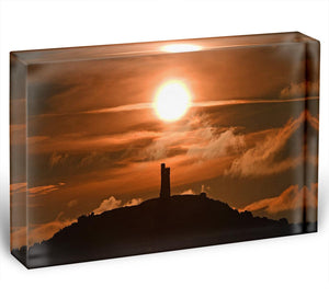 Sunrise behind Castle Hill Acrylic Block - Canvas Art Rocks - 1
