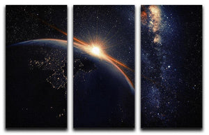 Sunrise seen from space 3 Split Panel Canvas Print - Canvas Art Rocks - 1