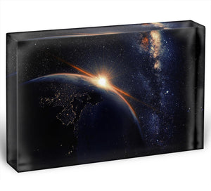 Sunrise seen from space Acrylic Block - Canvas Art Rocks - 1