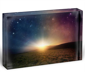Sunrise with stars and galaxy in night Acrylic Block - Canvas Art Rocks - 1