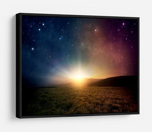 Sunrise with stars and galaxy in night HD Metal Print