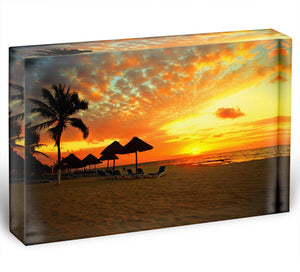 Sunset Scene at Tropical Beach Acrylic Block - Canvas Art Rocks - 1