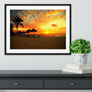 Sunset Scene at Tropical Beach Framed Print - Canvas Art Rocks - 1