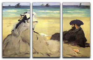 Sur la plage 1873 by Manet 3 Split Panel Canvas Print - Canvas Art Rocks - 1