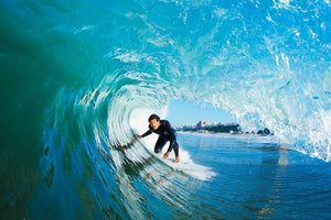 Surfer On Blue Ocean Wave Wall Mural Wallpaper - Canvas Art Rocks - 1