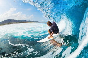 Surfer on Blue Ocean Wave in the Tube Wall Mural Wallpaper - Canvas Art Rocks - 1