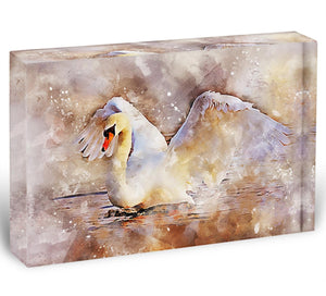 Swan Painting Acrylic Block - Canvas Art Rocks - 1
