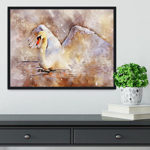 Swan Painting Framed Print - Canvas Art Rocks - 2