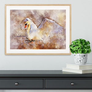 Swan Painting Framed Print - Canvas Art Rocks - 3