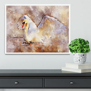 Swan Painting Framed Print - Canvas Art Rocks -6
