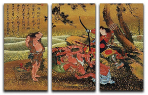 Tametomo and the demons by Hokusai 3 Split Panel Canvas Print - Canvas Art Rocks - 1