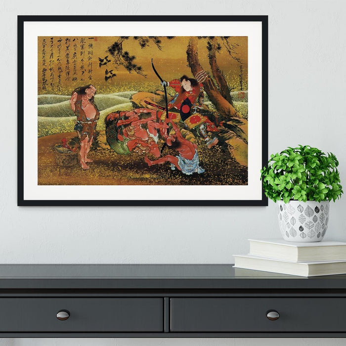 Tametomo and the demons by Hokusai Framed Print
