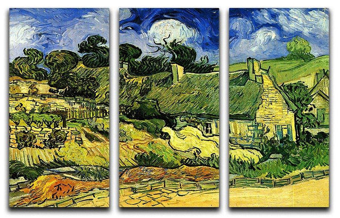 Thatched Cottages at Cordeville by Van Gogh 3 Split Panel Canvas Print