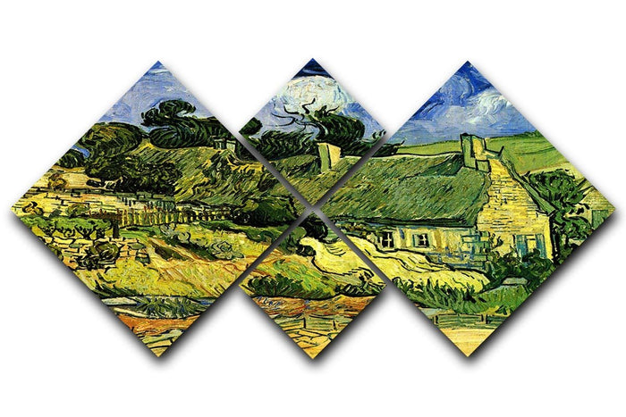 Thatched Cottages at Cordeville by Van Gogh 4 Square Multi Panel Canvas