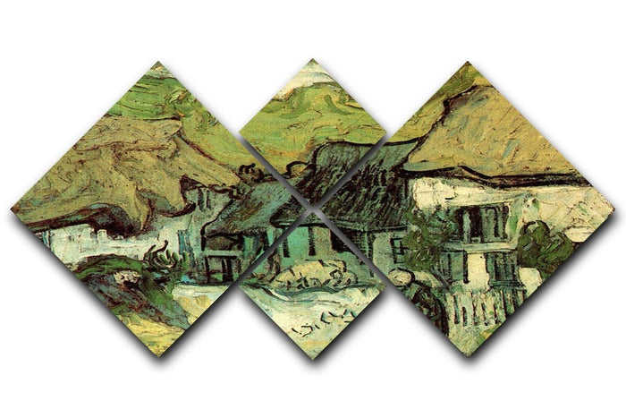 Thatched Cottages in Jorgus by Van Gogh 4 Square Multi Panel Canvas